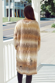 Multicolored Oversized Distressed Cardigan