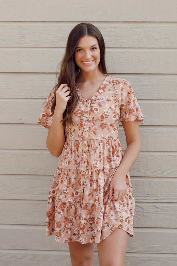 Tiered Babydoll Floral Print Dress