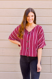 Striped Mock Button Down Top