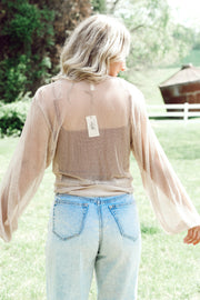 Sheer Knit Shrug Tie-Bottom Cardigan