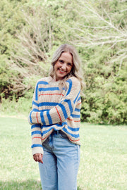 Knit Eyelet Crochet Striped Sweater