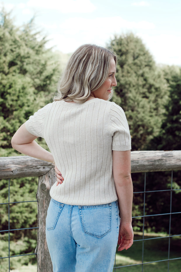 Short Sleeve Ribbed Knit Henley Sweater