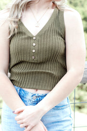 V Neck Sweater Tank Top w/Buttons