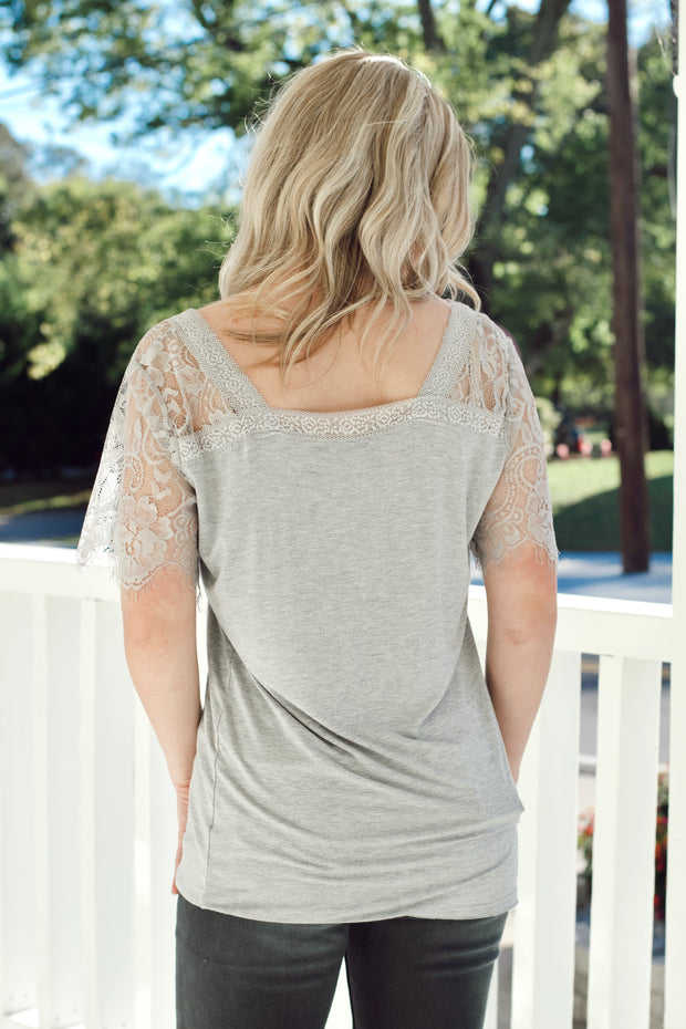 Grey Short Sleeve Lace Top