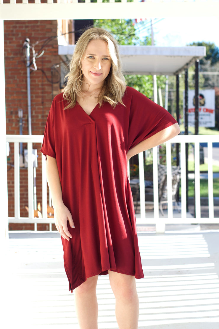 Solid V-Neck Dress W/Pleat