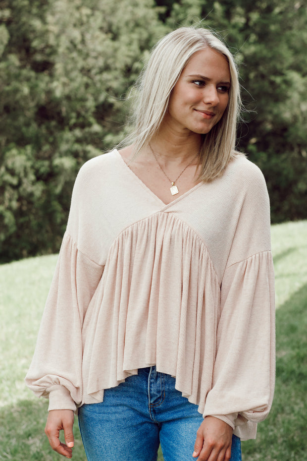 Knit Jersey V Neck Long-Sleeved Top