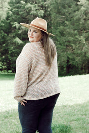 Lightweight V Neck Popcorn Sweater PLUS