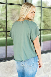 Short Sleeve Garment Washed Top