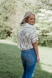 Short Sleeve Collared Striped Top