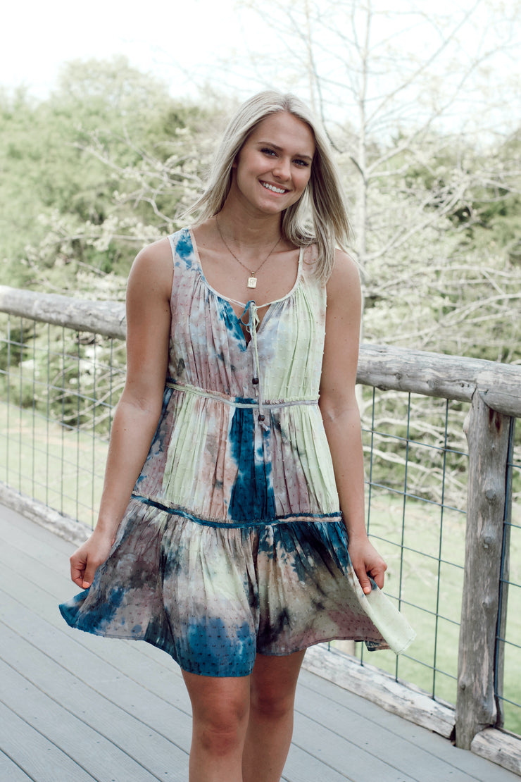 Tie Dye Printed Pom Pom Dress