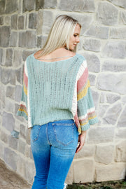 Wide Arm Color Block Striped Sweater