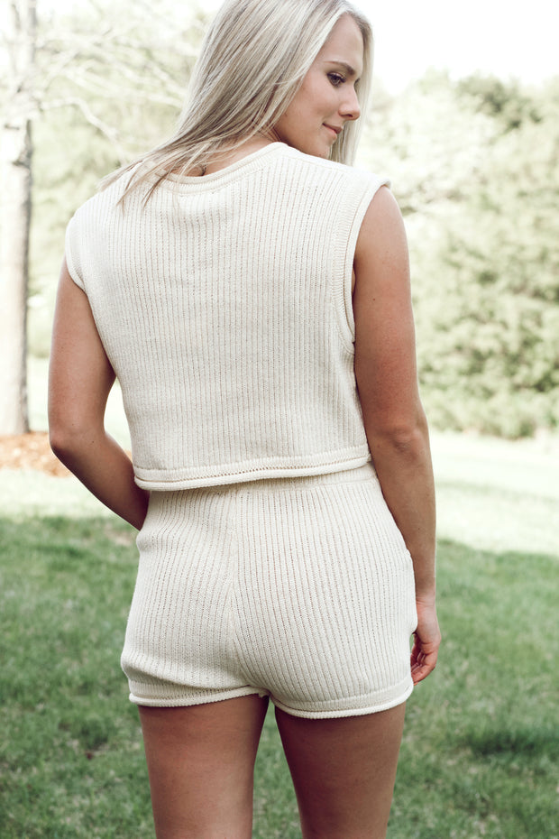 Ribbed Sweater Tank W/ Short Set