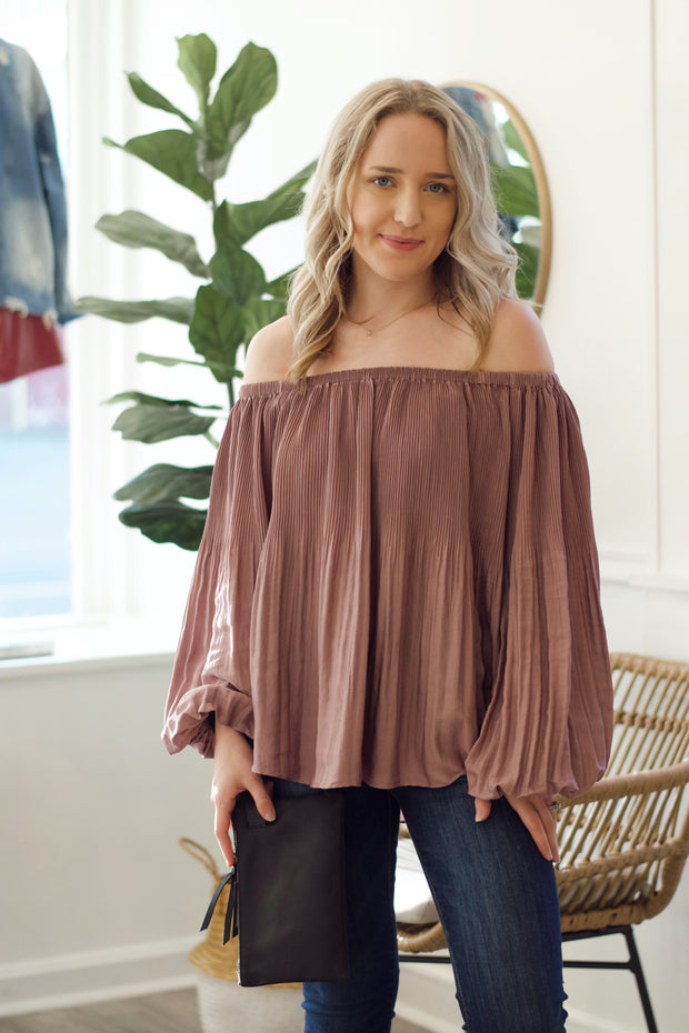 Satin Pleated Off-The-Shoulder Blouse