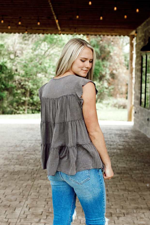 Garment Washed Ruffle Sleeve & Tiered Top