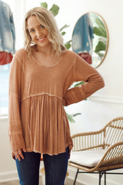 Knit Long Sleeve Blush Baby Doll Top