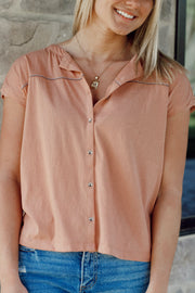Button Down Round Neck Tee Top