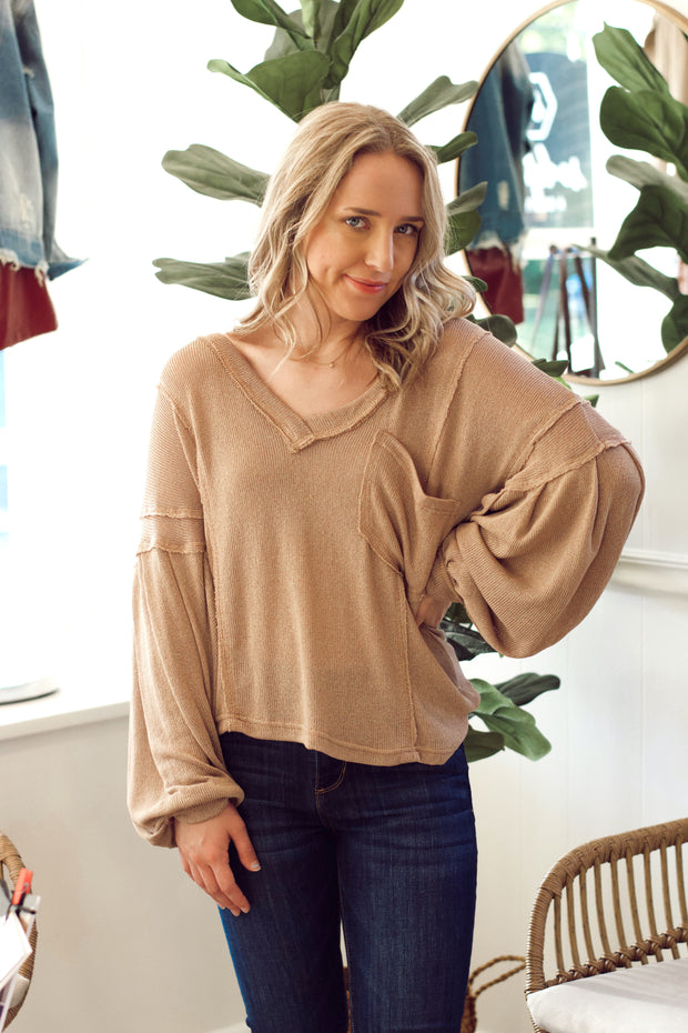Mocha Knit Sweater with Front Pocket
