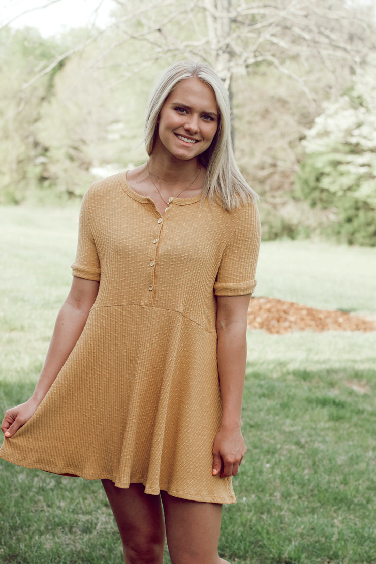 Button Front Short Sleeve Ribbed Dress