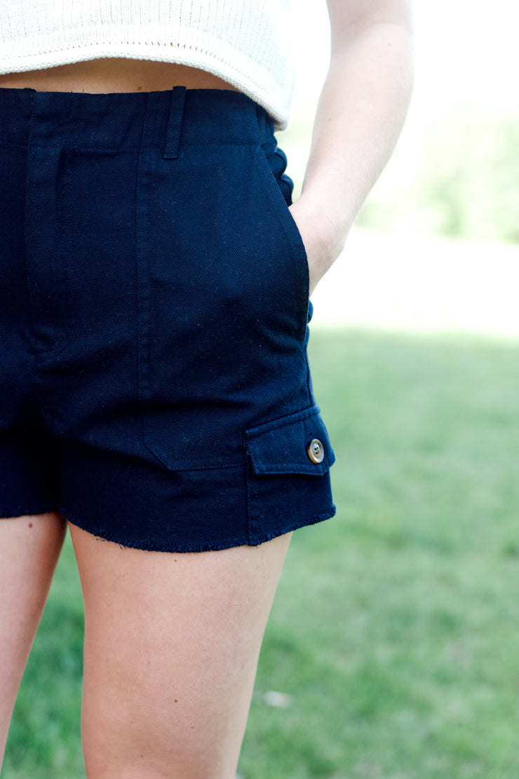 Button Pocket Raw Hem Shorts