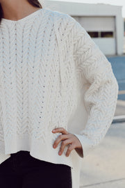 High-Low Hooded Knit Sweater