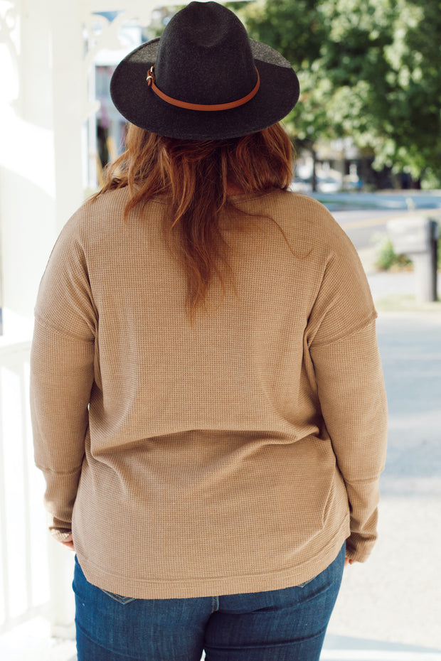 Long Sleeve Waffle Knit V Neck W/ Pocket