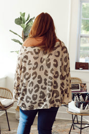 Olive Leopard Thin Knit Sweater PLUS