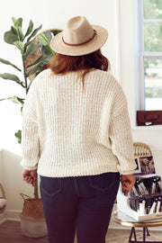 V-Neck Knit Sweater PLUS