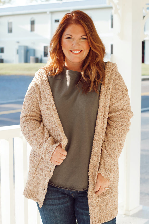 Long Sleeve Popcorn Pocket Cardigan