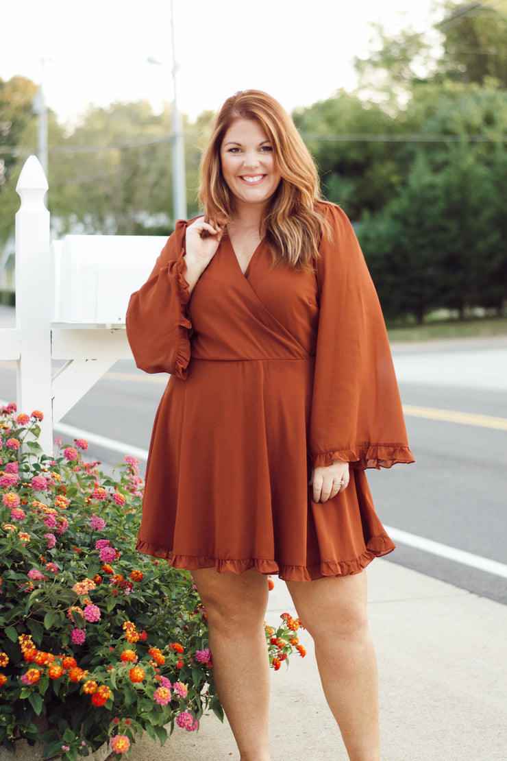 Bell-Sleeved Dress w/ Surplice Bodice PLUS