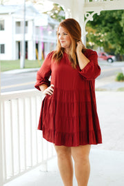 Burgundy Solid Mini Dress PLUS