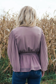 V Neck Wrap Top W/ Pleated Sleeves