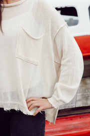 Oversized Knit Distressed Sweater W/ Pockets