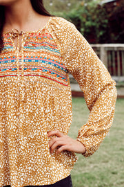 Mustard Aztec Embroidered Top PLUS