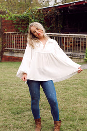 V-Neck Babydoll Long slv Top