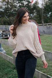 Taupe Ribbed Knit Sweater W/ Pink Detail