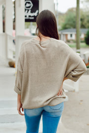 Ribbed Sweater W/ Cuff and Front Pocket