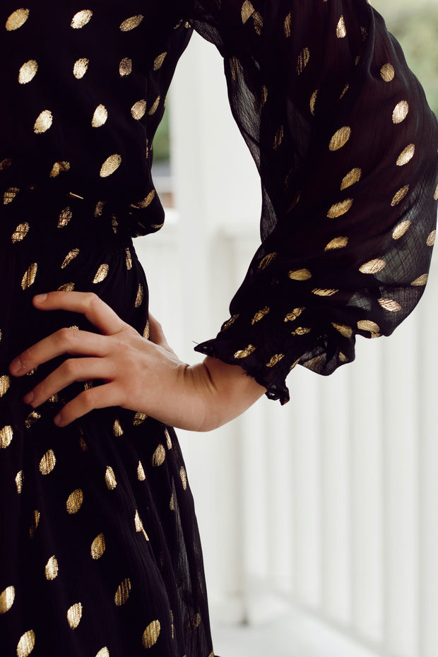 Tiered Ruffle Gold Speckled Polka Dot Dress