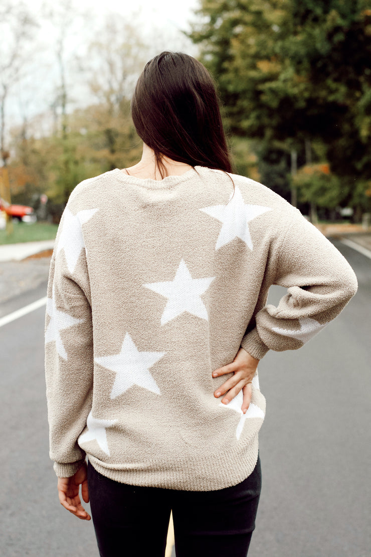Taupe and White Star Sweater
