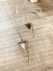 Double Layered Triangle Necklace W/ Stone