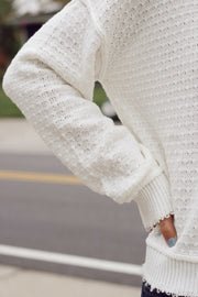 Textured Raw Hem Cropped Sweater