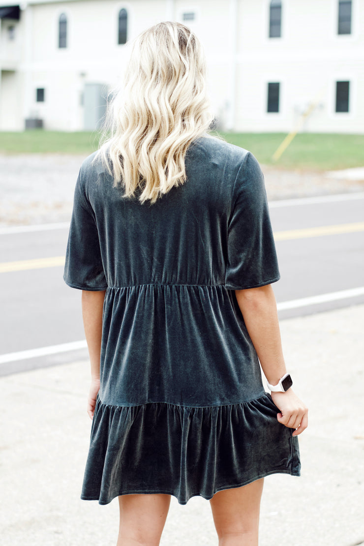 Velvet Ruffle Tiered Mini Dress