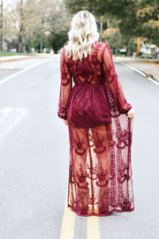 Sheer Lace Maxi Dress