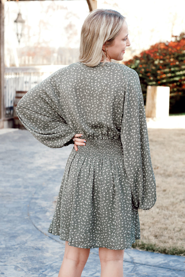 V Neck Smocked Waist Speckled Dress