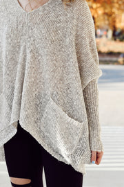 Oversized Knit Pocket Sweater