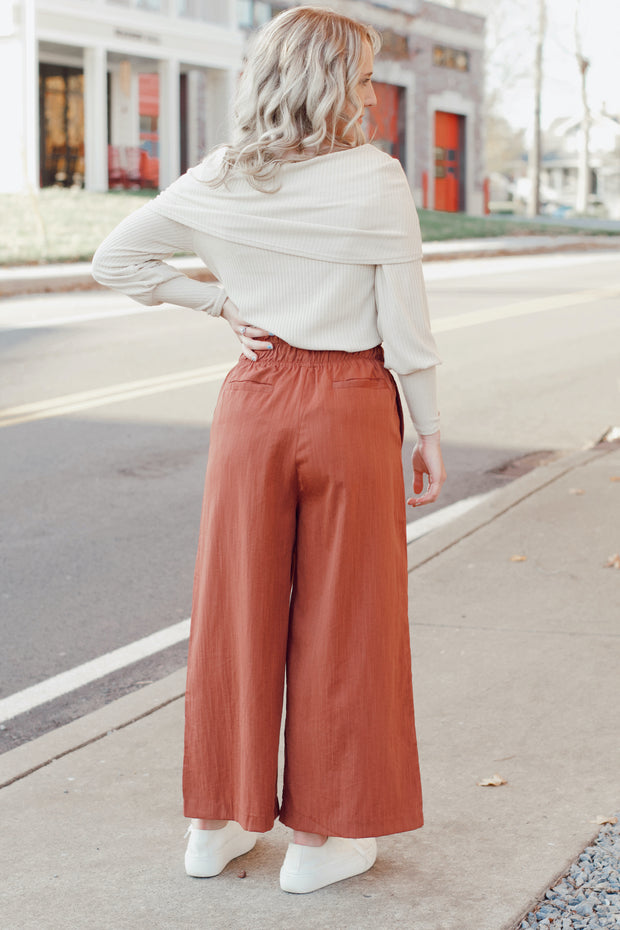 Shirred Waist Wide Leg Pants