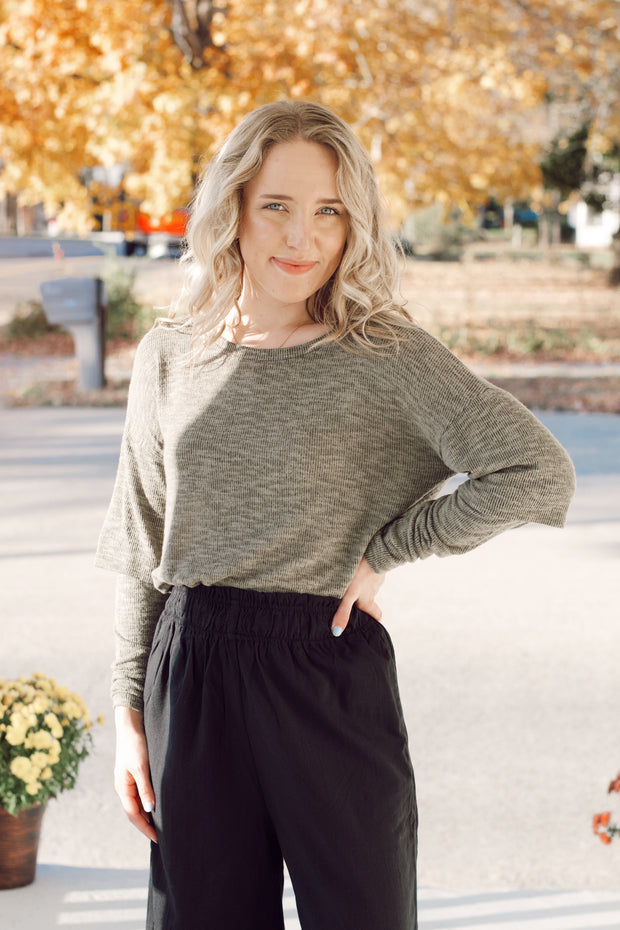 Solid Knit Top w/ Layer Detail