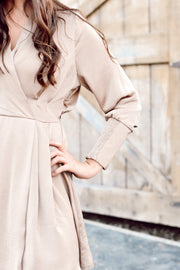 Satin V Neck Wrap Dress