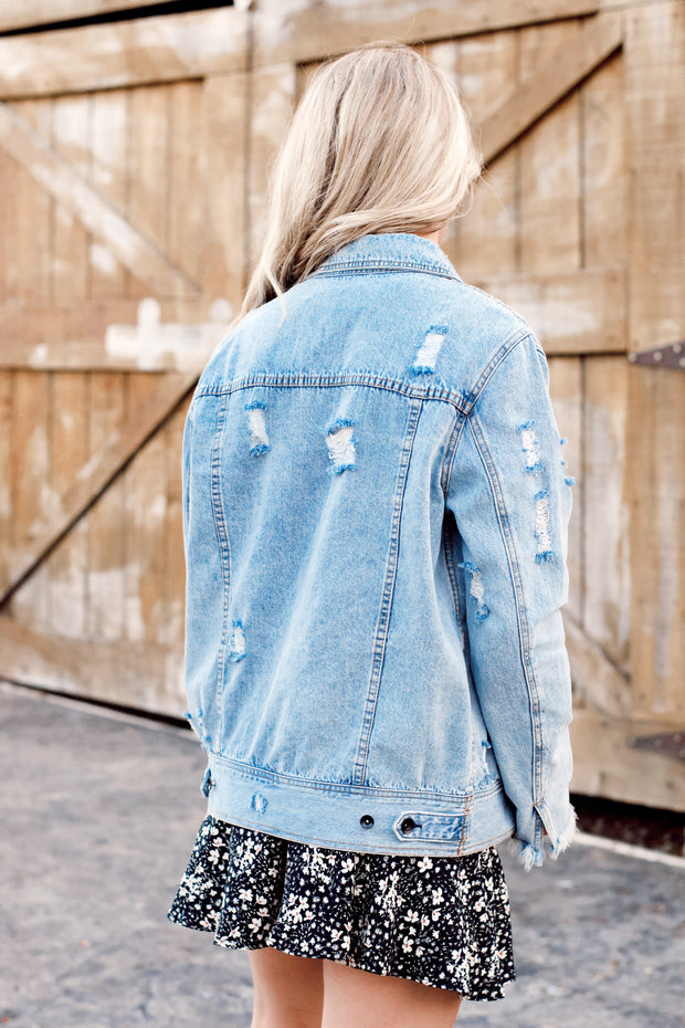 Distressed Denim Jacket W/ Stitch Detail
