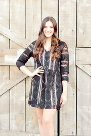 Long Sleeve V Neck Lace Dress W/ Lining