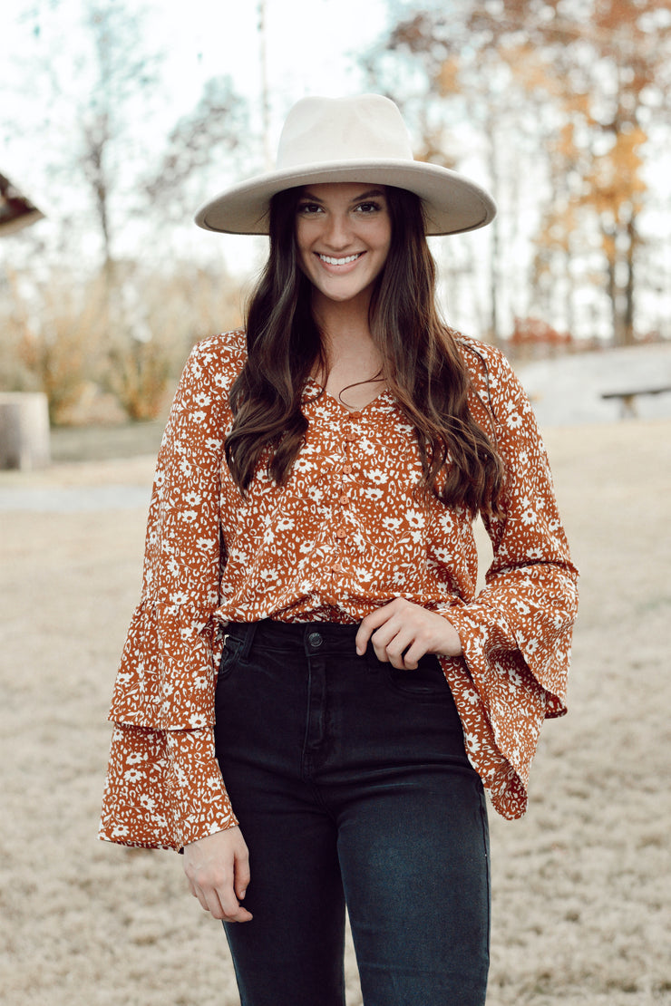 Floral Body Suit W/ Lace & Flare Sleeves